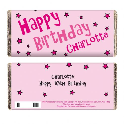 Personalised Happy Birthday Pink Stars Chocolate Bar